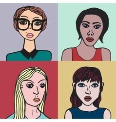 Hand drawn set characters vector image