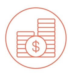 Dollar coins line icon vector