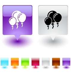 Balloons square button vector