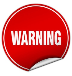 Warning round red sticker isolated on white vector