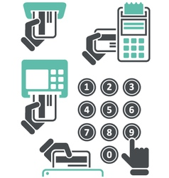 Atm keypad and pos-terminal - simple icons vector