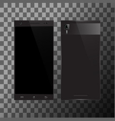 Black smartphone with blank screen vector