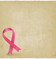 Breast cancer ribbon old background vector