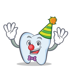 Clown tooth character cartoon style vector