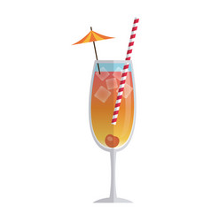 Drink cocktail cherry ice umbrella straw vector