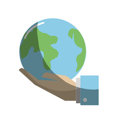 earth planet in the hand icon vector image