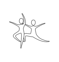 figure people practicing dancing icon vector image