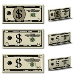 five ten twenty dollar banknotes vector image