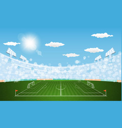 Football arena field with lights sun daytime vector