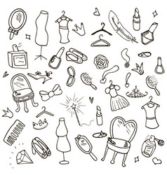 funny children drawing doodle set vector image