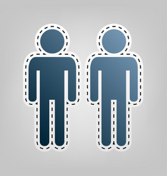 Gay family sign blue icon with outline vector