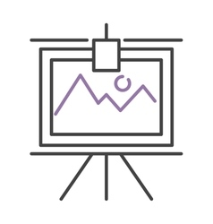 Graph with two lines on whiteboard flipchart icon vector