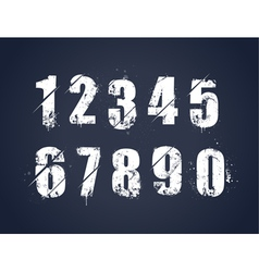 Grunge dirty painted numbers vector image