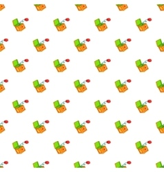 Hand on spring in box pattern cartoon style vector