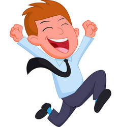 Happy businessman cartoon running vector
