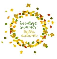 Hello autumn goodbye summer vector