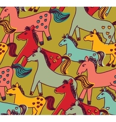 Horses seamless pattern color vector image vector image