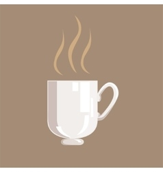 Hot coffee in white cup isolated icon from vector