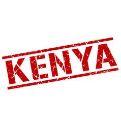 Kenya red square stamp vector
