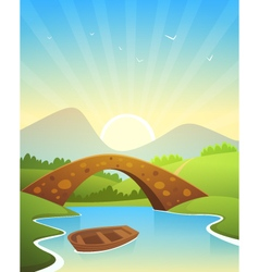 Landscape With Bridge vector image vector image
