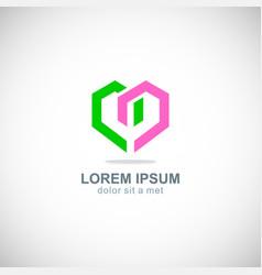 love shape colored logo vector image