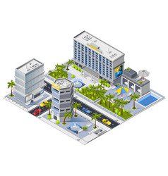 Luxury hotel buildings isometric design concept vector