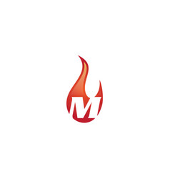 m letter flame logo vector image vector image