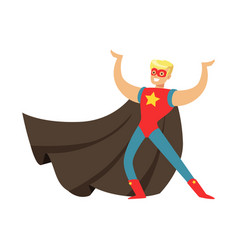 Male superhero in cape posing and showing muscles vector