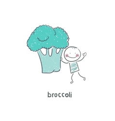 Man and broccoli vector image vector image