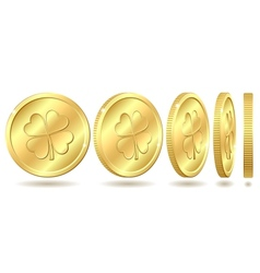Set of golden coins with four leaf clover vector image vector image