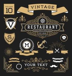 Set of retro vintage graphic design elements vector image