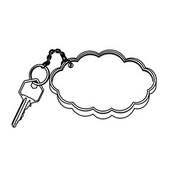 Silhouette metal key with keyring in cloud shape vector