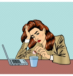 Stress at Work Girl Drinking Pills Business Woman vector image