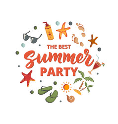 summer party text with beach elements sunscreen vector image vector image