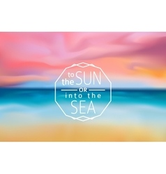 sunset beach blurred background with line sign vector image vector image