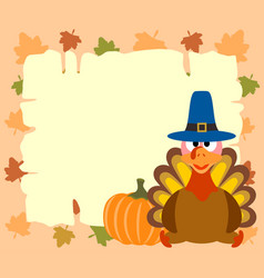 Thanskgiving background with turkey and pumpkin vector