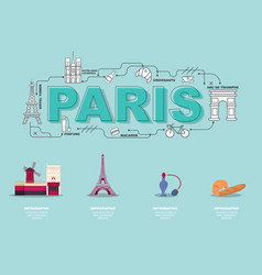 Traveling in paris with landmark icons on green vector