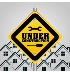 Under construction sign houses background vector