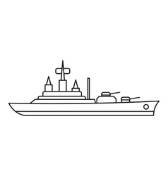 Warship icon outline style vector