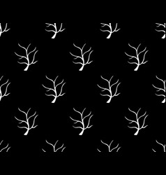 white tree stripped bare on black background vector image vector image