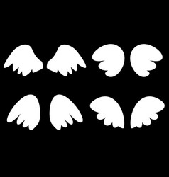 wings set with white angel wings vector image vector image