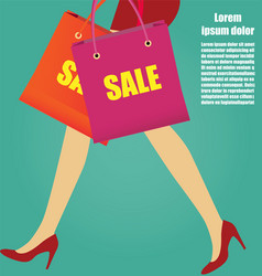 Women legs with red high heels and shopping bags vector