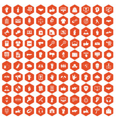 100 different gestures icons hexagon orange vector