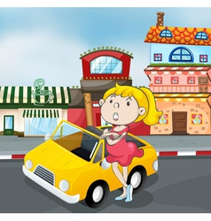 a girl near car vector image