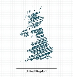 Doodle sketch of united kingdom map vector