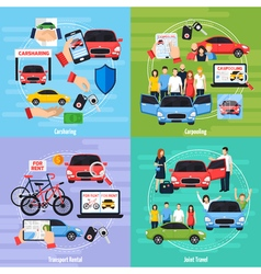 Carsharing concept icons set vector