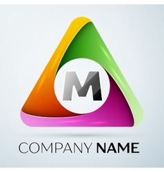 Letter M logo symbol in the colorful triangle vector image