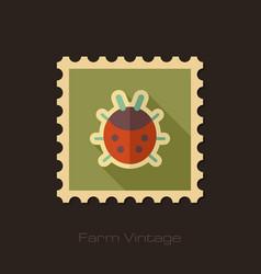 Ladybug retro flat stamp with long shadow vector