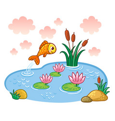 The fish jumps into the pond vector