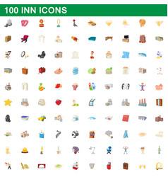 100 inn icons set cartoon style vector